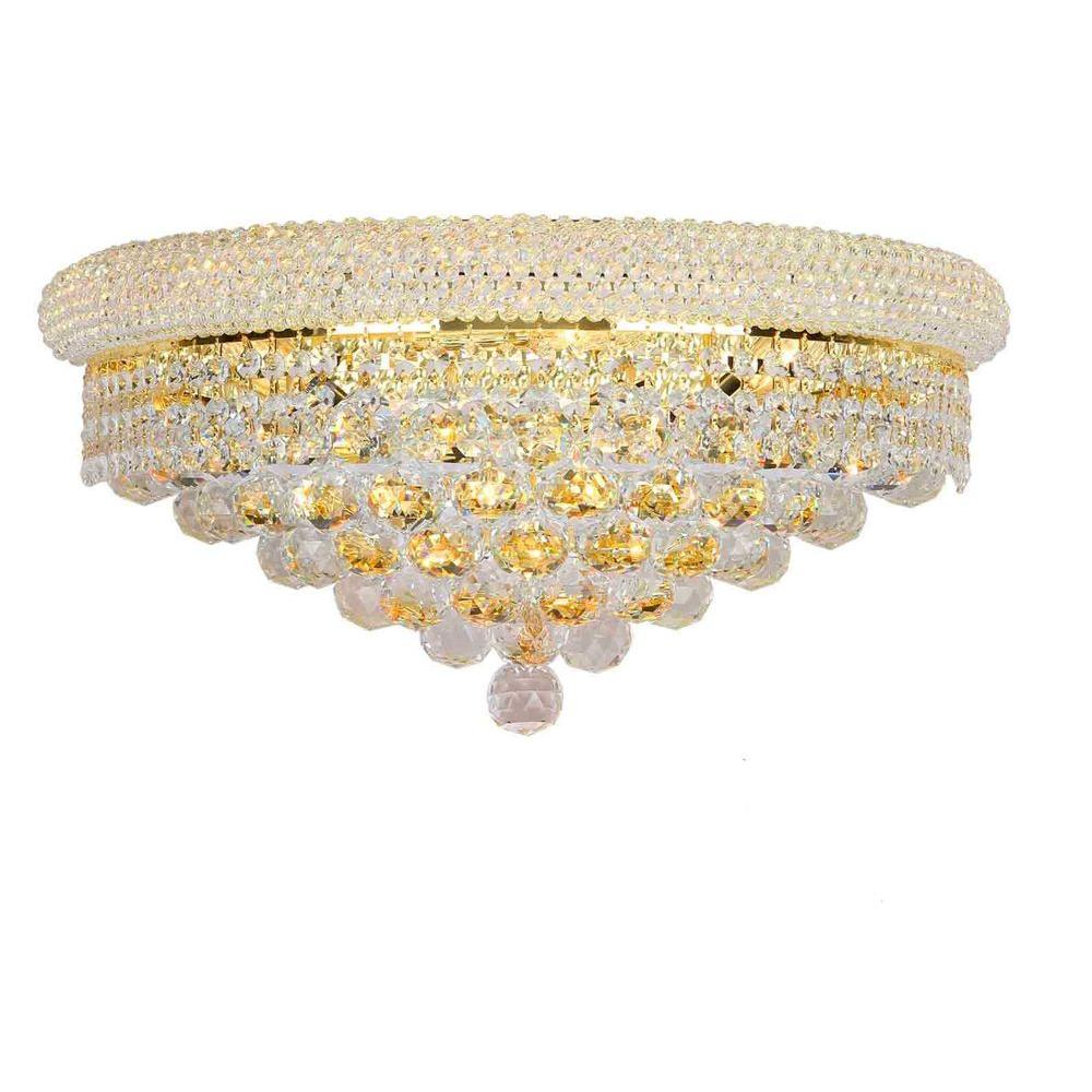 Worldwide Lighting Empire Collection 4-Light Crystal and Gold Sconce
