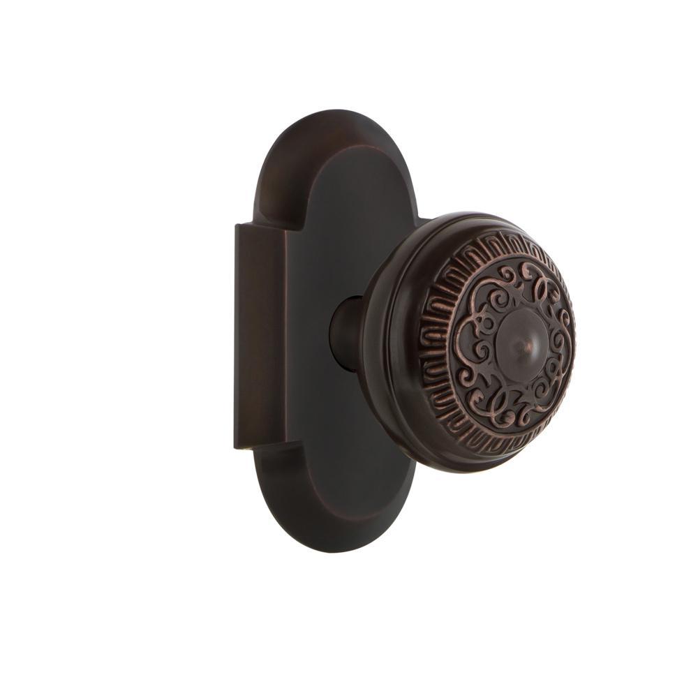 Cottage Plate 2-3/8 in. Backset Timeless Bronze Privacy Bed/Bath Egg & Dart Door Knob