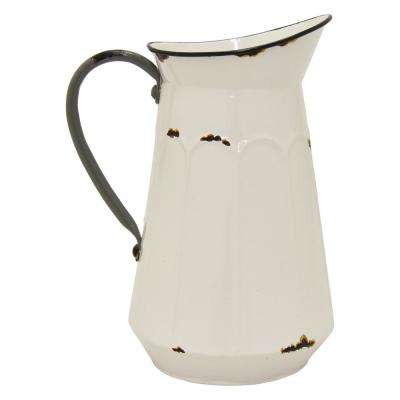 7.75 in. x 6.25 in. x 10.5 in. White Metal Pitcher Planter