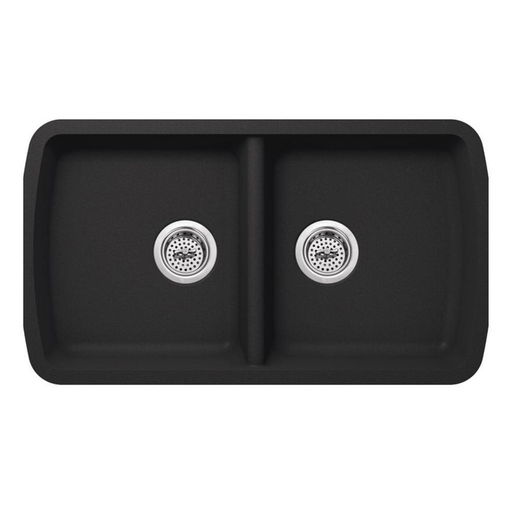 Undermount Quartz 33-3/4 in. 50/50 Double Bowl Kitchen Sink in Onyx Black
