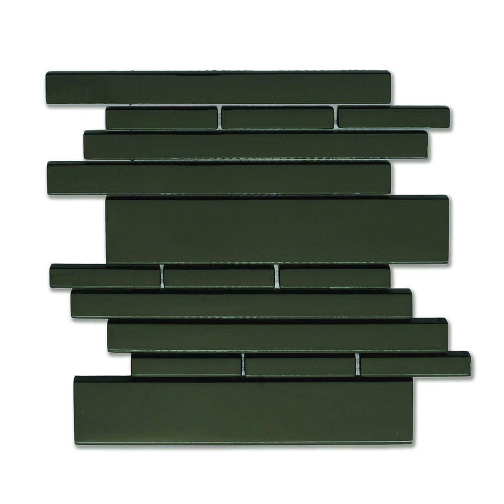 Solistone Piano Glass Melody 9-1/2 in. x 10-1/2 in. Black Mesh-Mounted Mosaic Wall Tile (6.92 sq. ft. / case)