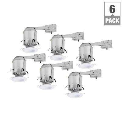 RL 6 in. Remodel Ceiling Housing and Dimmable White Integrated LED Recessed Light Retrofit Kit, T24 Rated, (6-Pack)