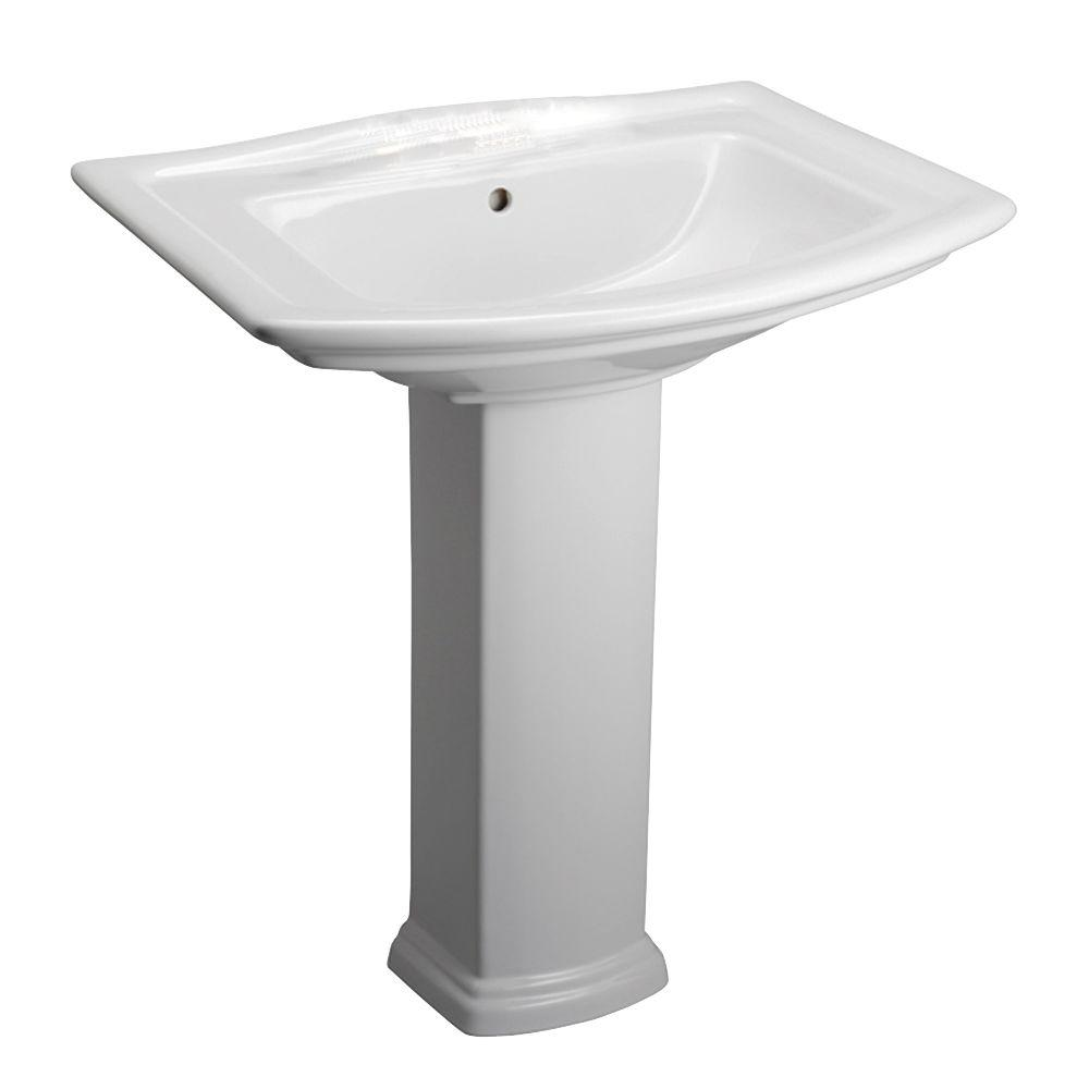 Pedestal Combo Bathroom Sink For 4 In Centerset White