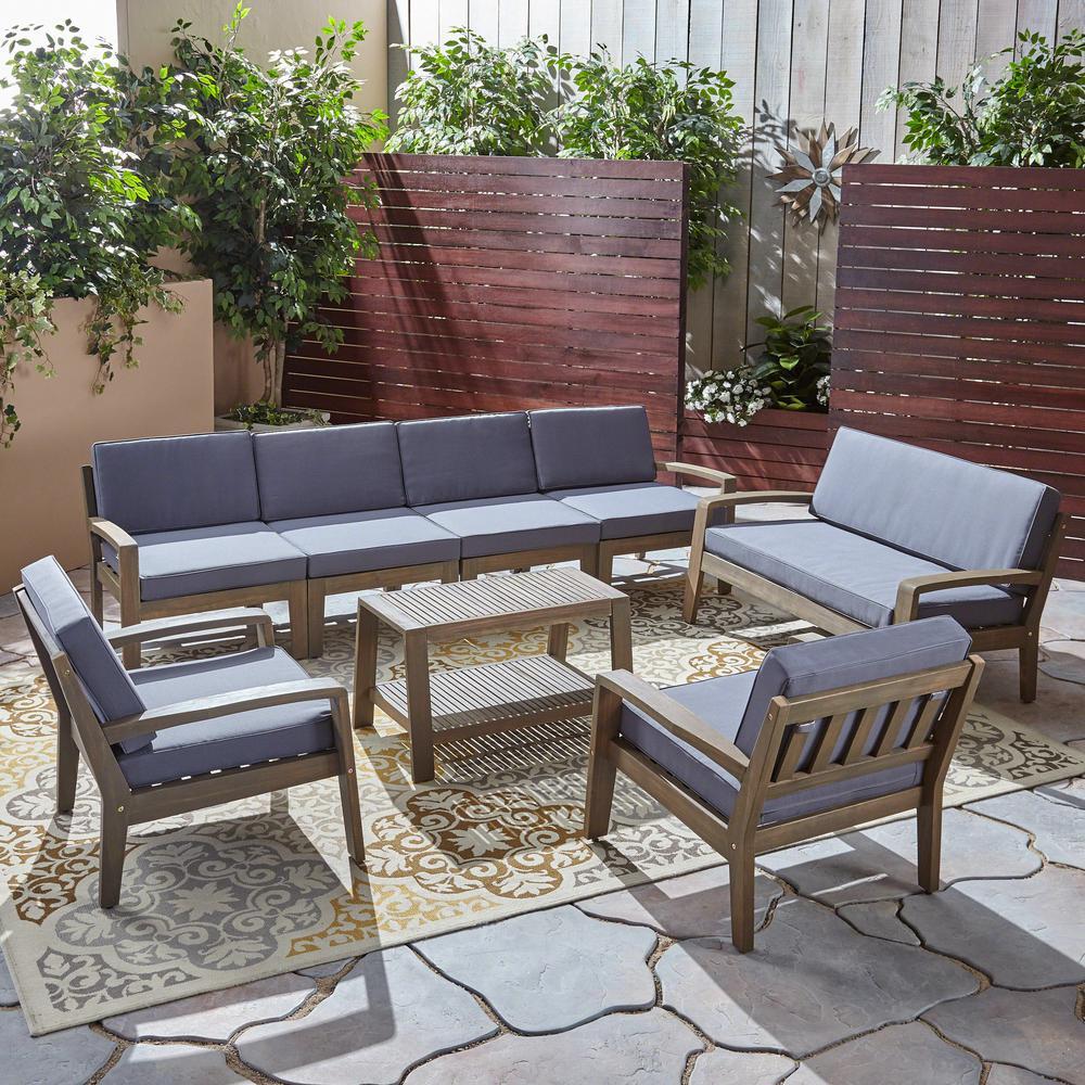 Grenada 8-Piece Wood Patio Conversation Set with Dark Grey Cushions