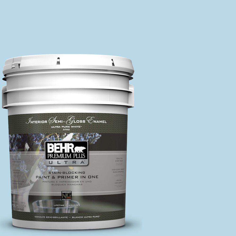 5-gal. #M490-1 Breezy Blue Semi-Gloss Enamel Interior Paint