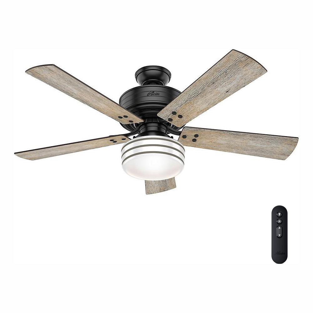 Hunter Cedar Key 52 in. Indoor/Outdoor Matte Black Ceiling Fan with Light Kit and Handheld Remote Control