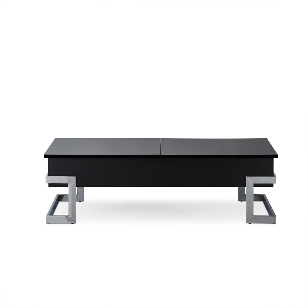 Acme Furniture Calnan Black And Chrome Coffee Table 81855 The Home Depot