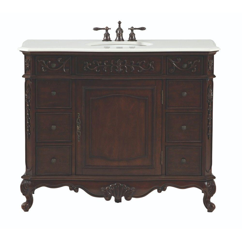 Home Decorators Collection Winslow 45 In W Bath Vanity In Antique Cherry With Marble Vanity Top