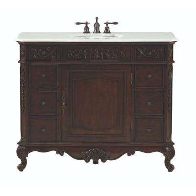 Winslow 45 in. W Bath Vanity in Antique Cherry with Marble Vanity Top in White