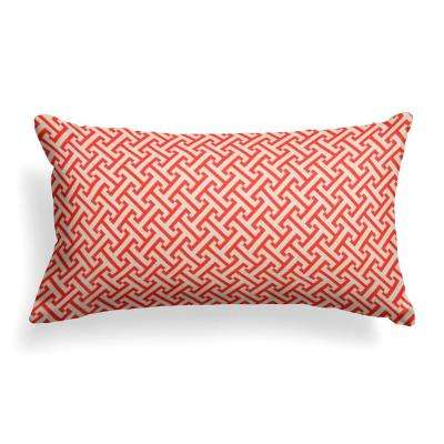 Greek Key Rectangular Outdoor Lumbar Throw Pillow