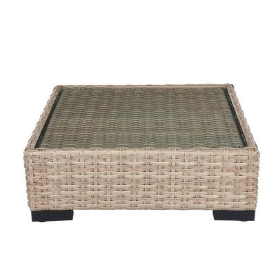 Commercial Natural Square Wicker Outdoor Patio Coffee Table with Glass Top