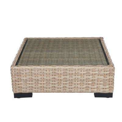 Commercial Natural Square Wicker Outdoor Coffee Table with Glass Top