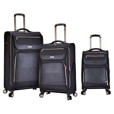 3-Piece Softside Vertical Rolling Luggage Set with Faux-Leather Facing