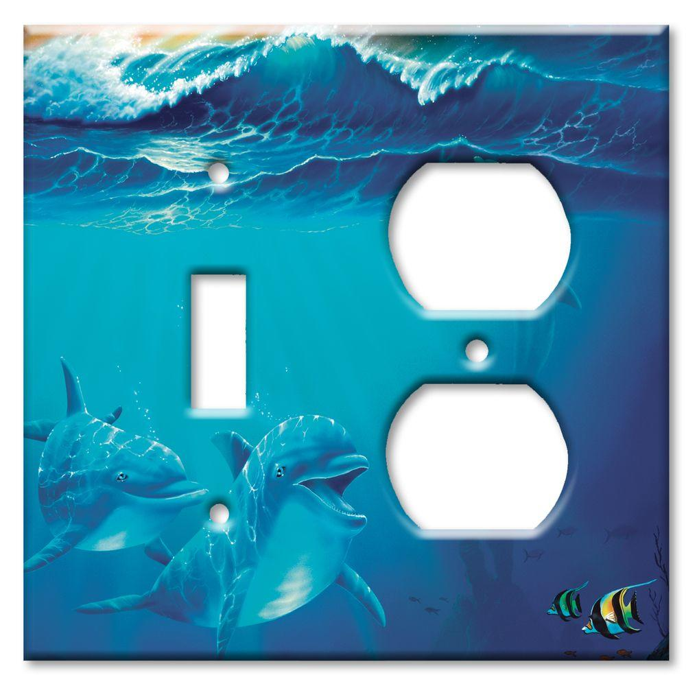 Art Plates Dolphins at Play Switch/Outlet Combo Wall Plate