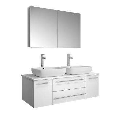 Lucera 48 in. W Wall Hung Vanity in White with Quartz Stone Vanity Top in White with White Basins and Medicine Cabinet