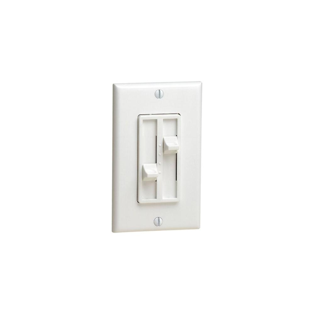Leviton Fan Controls Wiring Devices Light The Home Ceiling To Wall Outlet 300 Watt Decora Sureslide Single Pole 2 Circuit Slide Step Dimmer White