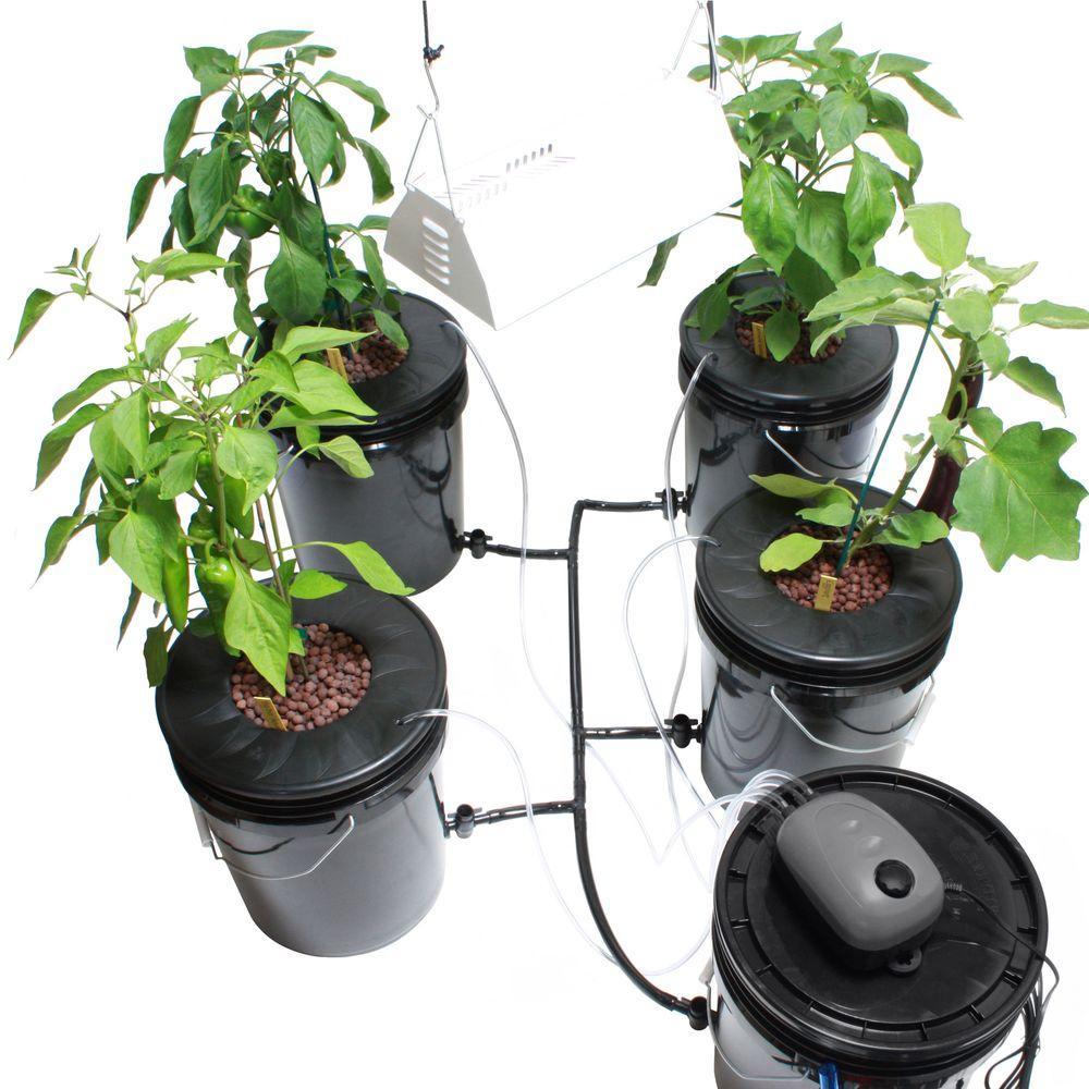 Viagrow Hydroponic Black Bucket Deep Water and Grow Light Kit (4-Pack)