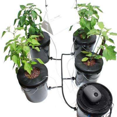 Hydroponic Black Bucket Deep Water and Grow Light Kit (4-Pack)