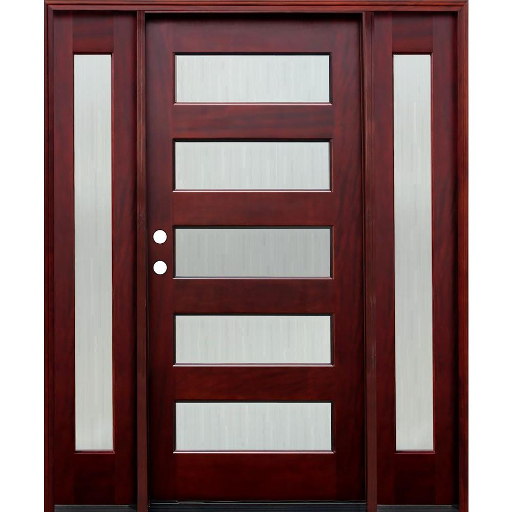Pacific Entries 66 in. x 80 in. Contemporary 5 Lite Reed Stained Mahogany Wood Prehung Front Door w/6 in. Wall Series & 12 in. Sidelites