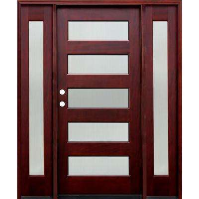 66 in. x 80 in. Contemporary 5 Lite Reed Stained Mahogany Wood Prehung Front Door w/6 in. Wall Series & 12 in. Sidelites