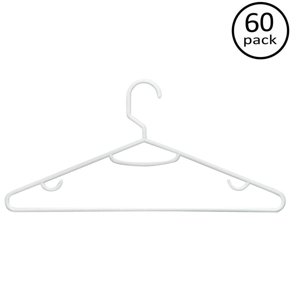 Brilliant White Plastic Hangers (60-Pack)