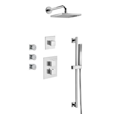 Quadro 3-Spray Square Showerhead and Wall Bar Kit with Handheld Shower and Body Jets in Chrome