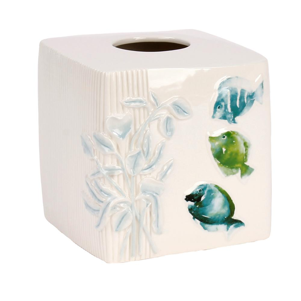 Atlantis Freestanding Tissue Box Cover in Aqua