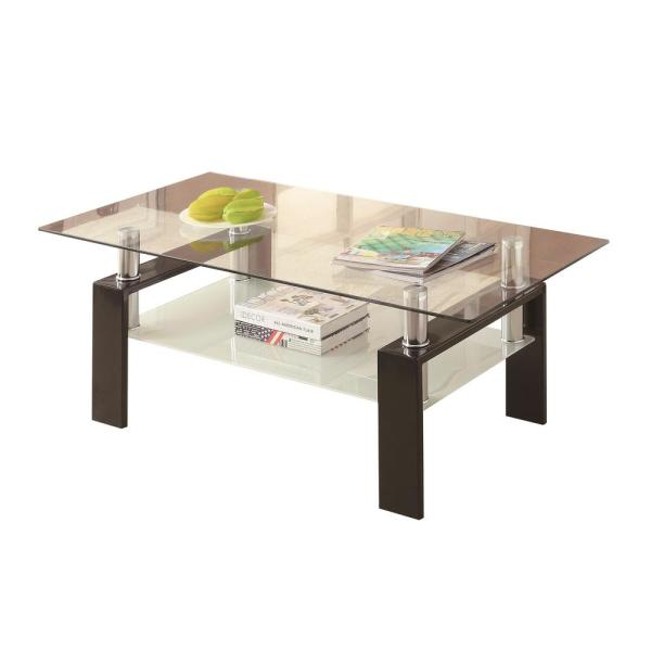 Coaster Black and Clear Tempered Glass Coffee Table with Shelf 702288
