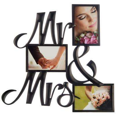 3-Opening 4 in. x 6 in. Mr. & Mrs. Picture Frame