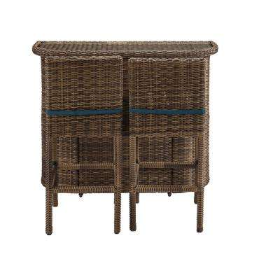Bradenton 3-Piece Wicker Outdoor Bar Set with Bar, 2 Stools and Navy Cushions