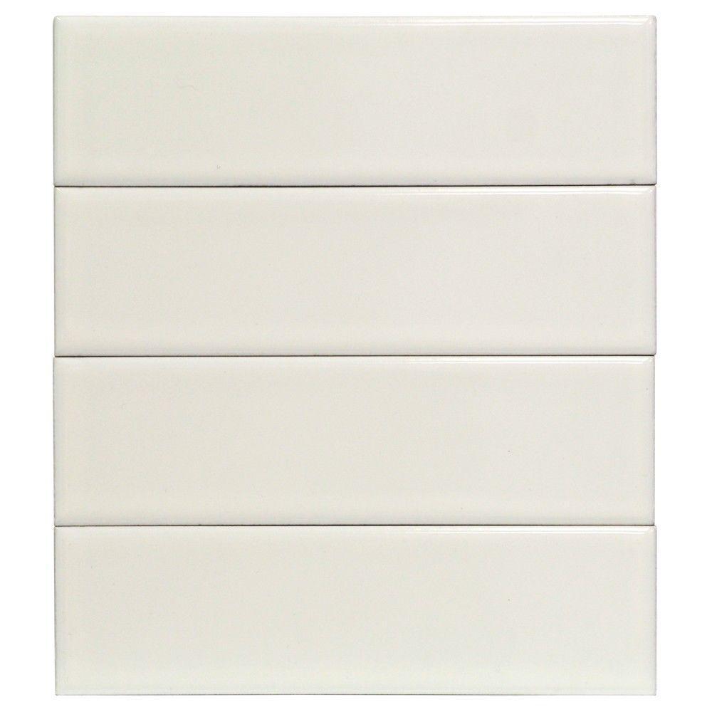 Splashback Tile Vintage White Ceramic Mosaic Wall Tile - 3 in. x 9 ...
