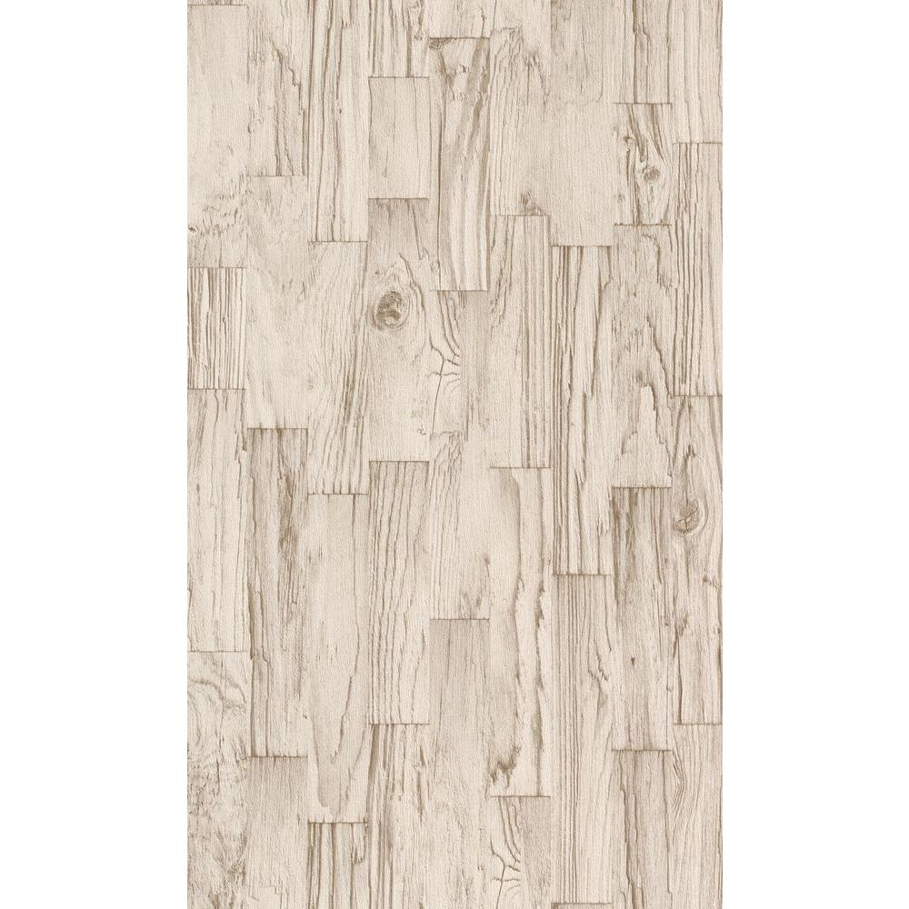 Washington Wallcoverings Distressed White Faux Wood Slats Vinyl ...