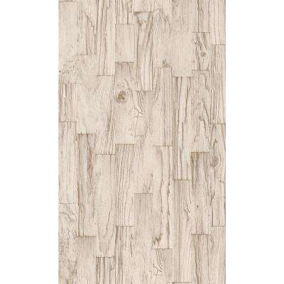 Distressed White Faux Wood Slats Vinyl Wallpaper