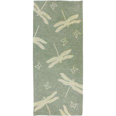Dragonfly Field Sage Green 2 ft. x 5 ft. Indoor/Outdoor Runner Rug