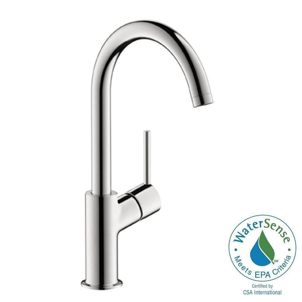 bathroom high faucet hansgrohe single uno arc nickel hole faucets brushed handle axor