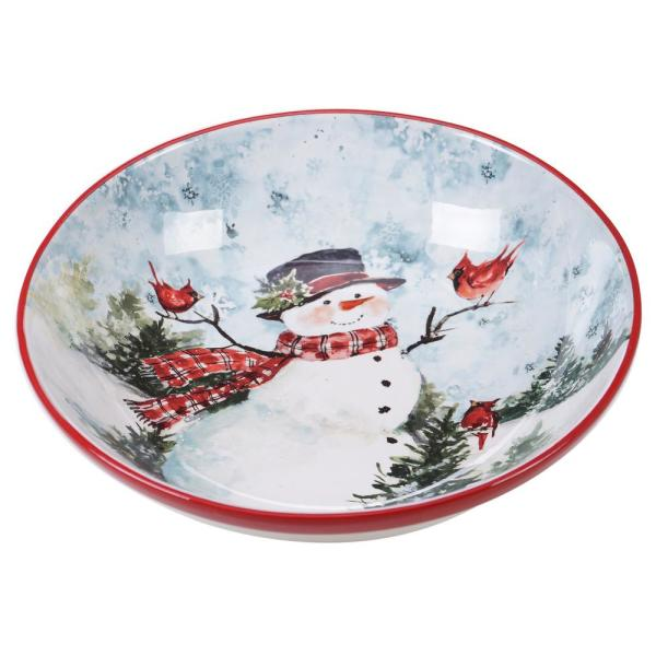Watercolor Snowman Multi-Colored 13 in. Earthenware Serving/Pasta Bowl