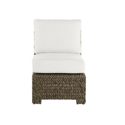 Laguna Point Brown Wicker Armless Middle Outdoor Patio Sectional Chair with CushionGuard Chalk White Cushions