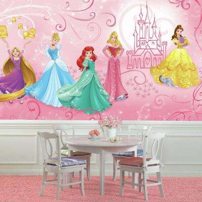 72 in. W x 126 in. H Disney Princess Enchanted XL Chair Rail 7-Panel Prepasted Wall Mural