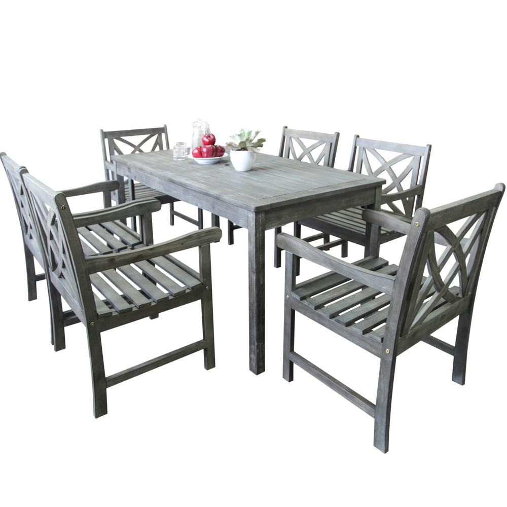 Vifah bradley 7 piece rectangle patio dining set for Outdoor dining sets for 12