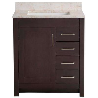 Westcourt 31 in. W x 22 in. D Bath Vanity in Chocolate with Stone Effect Vanity Top in Dune with White Sink