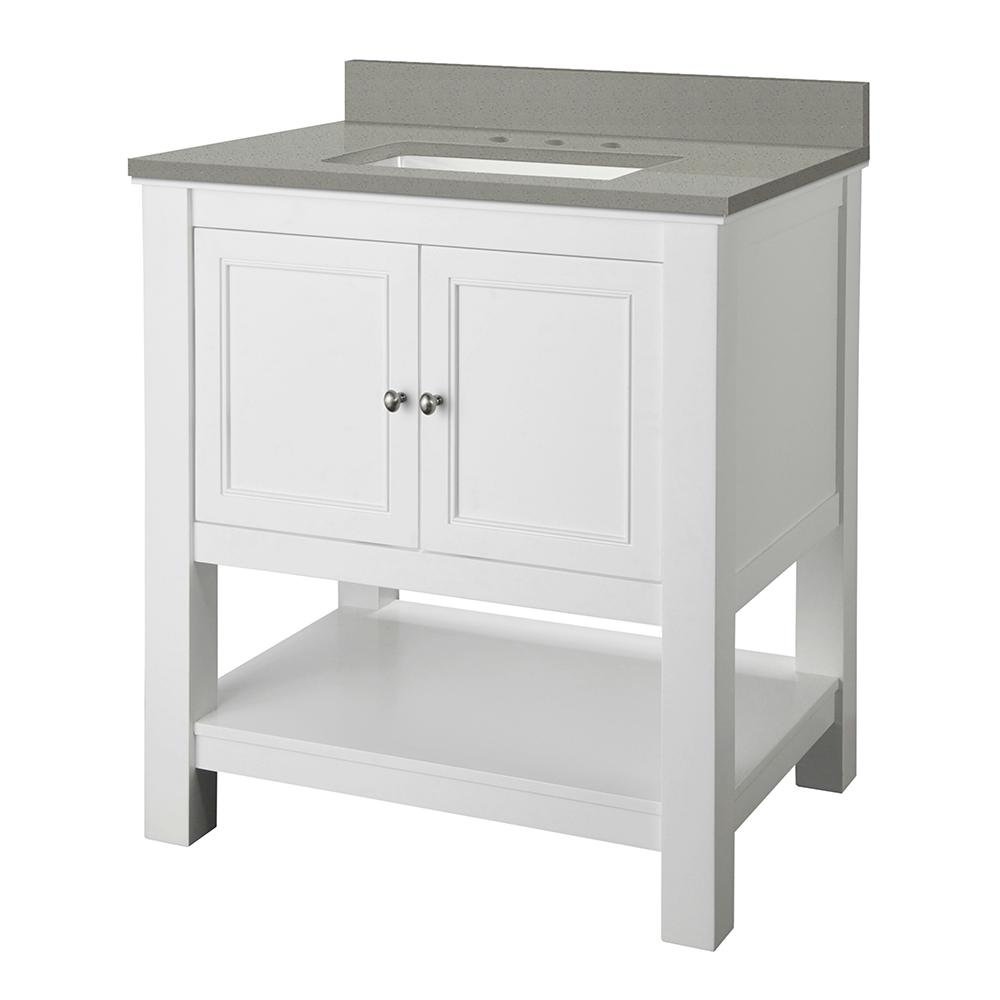 Foremost Gazette 31 in. W x 22 in. D Bath Vanity in White with Engineered Quartz Vanity Top in Sterling Grey with White Basin
