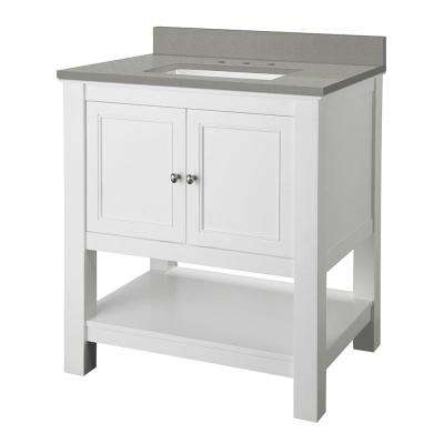 Gazette 31 in. W x 22 in. D Bath Vanity in White with Engineered Quartz Vanity Top in Sterling Grey with White Basin
