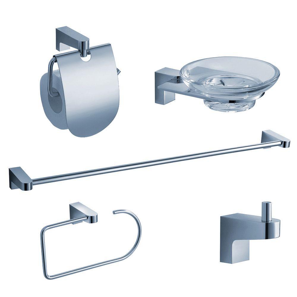 Fresca Generoso Brass 5-Piece Bathroom Accessory Set in Chrome