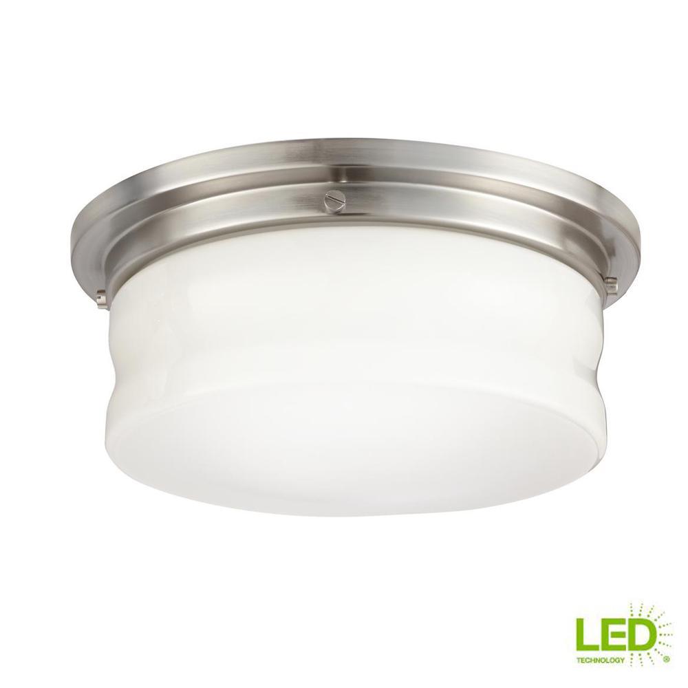 13 in. Brushed Nickel LED Flushmount