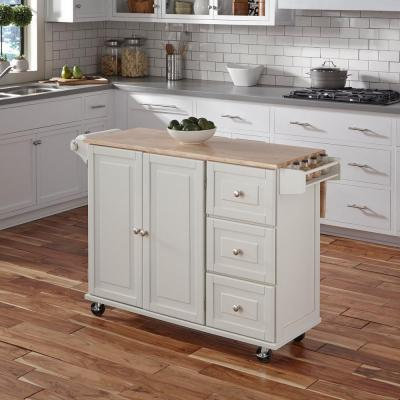 Liberty White Kitchen Cart with Natural Wood Top