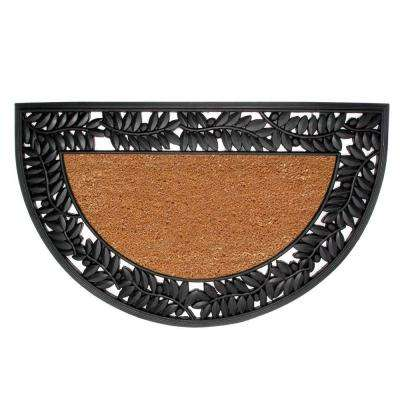 Wrought Iron Olive Border Plain 22 in. x 36 in. Rubber Coir Door Mat
