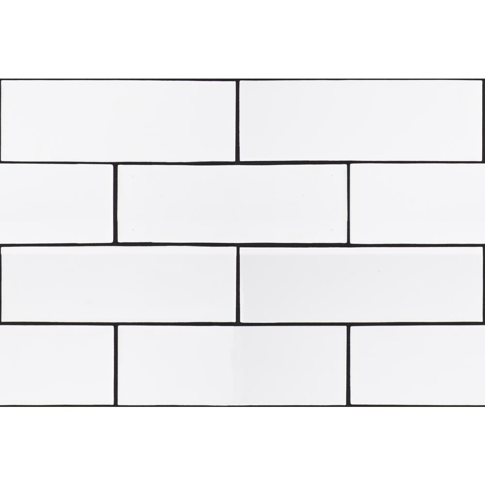 City Bianco 4 in. x 12 in. Glossy Ceramic White Subway Tile (9.99 sq. ft./case)