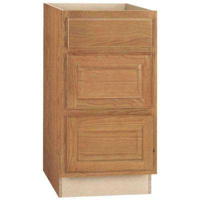 Hampton Assembled 18x34.5x24 in. Drawer Base Kitchen Cabinet with Ball-Bearing Drawer Glides in Medium Oak
