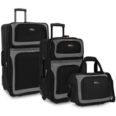 New Yorker 3-Piece Black Rolling Luggage Set (Large and Small Suitcases and Tote Bag),