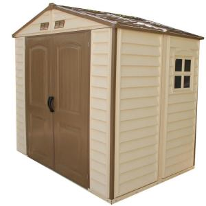 Click here to buy Duramax Building Products Store All 8 ft. x 6 ft. Vinyl Storage Shed by Duramax Building Products.